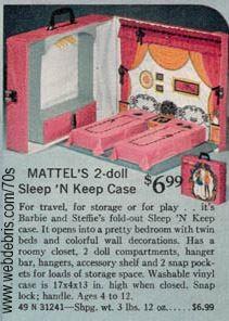 Barbie 2-Doll Sleep N Keep Case from 1972