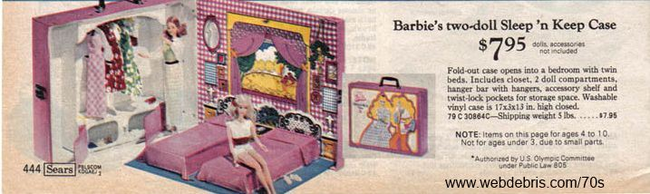 Outstanding Barbie Two Doll Sleep N Keep Case Remembering The 70S Download Free Architecture Designs Rallybritishbridgeorg