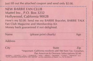 Barbie Fan Club Form