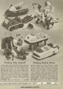 Walking Billy Blastoff and Walking Robbie Robot from 1970