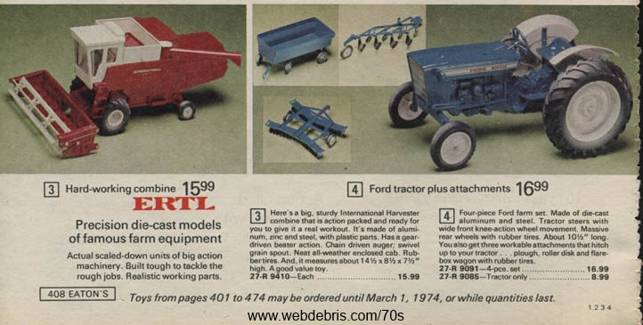 Ertyl Toy Tractors from 1973
