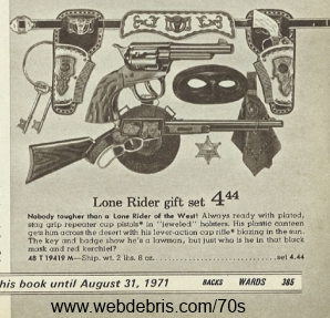 The Lone Rider Cap Gun Set from Wards 1970