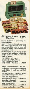 The Magic Answer Machine from Sears 1977