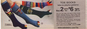 Toe Socks from Wards 1975