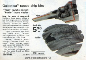 Battlestar Galactica Colonial Viper and Cylon Raider Kits from 1978